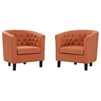 Prospect 2 Piece Upholstered Fabric Armchair Set, Orange