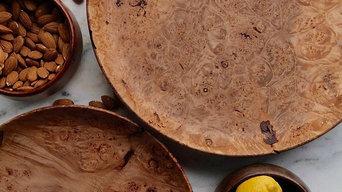 Pair of Hand-Turned Maple Burl Wood Platters