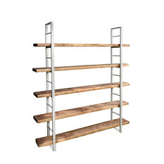 Sinem White Metal and Wood Bookcase