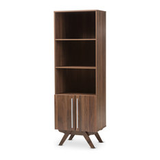 Ashfield Mid-Century Modern Walnut Brown Finished Wood Bookcase