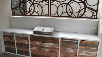 Outdoor Kitchen with White Polished Concrete Benchtop, Frame and Splashback