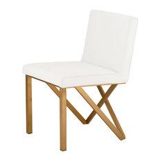 Talbot Dining Chair Seat: Matte White Frame: Brushed Gold by Niagara Furniture