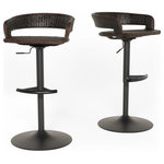 RST Brands - Comfort Airlift Wicker Bar Stools, Set of 2, Espresso Brown - These Comfort bar stools are a great addition to your outdoor area, and are updated with arm rests and an exposed back for design and superior comfort. Host your guests in style in your outdoor seating space with a commercial grade stool set to enhance your bar, kitchen island, or entertaining area. Designed to coordinate with any entertaining space.