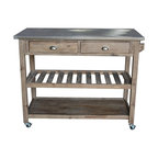 Sonoma Kitchen Cart, Brushed Chrome