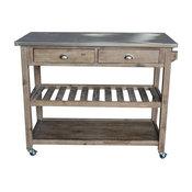 Sonoma Kitchen Cart, Brushed Chrome