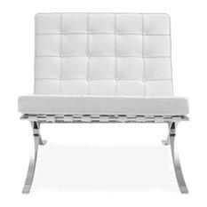 Barcelona Lounge Chair Premium Italian Leather, White