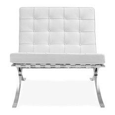 Barcelona Style Lounge Chair - Top Grain Premium Italian Leather - White