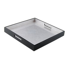 Lacquer Large Square Tray, Silver Leaf Inlay/Black