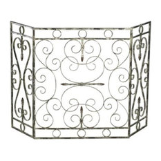 """Cyan Lighting Crawford, 25"""" Fire Screen, Distressed Antique White Finish"""