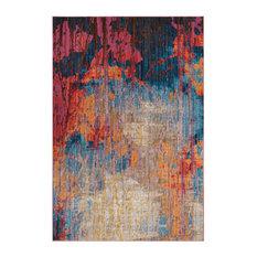 Safavieh Bristol Collection BTL354 Rug, Blue/Rust, 7' Square