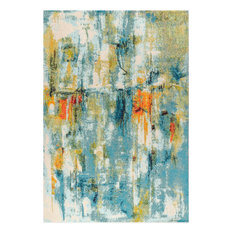 Contemporary POP Modern Abstract Waterfall Blue/Cream 5' x 8' Area Rug