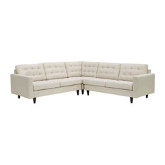 DYLAN EMPRESS 3 PIECE UPHOLSTERED FABRIC SECTIONAL SOFA/BEIGE