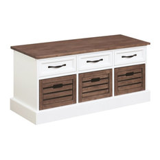 Bowery Hill Entryway Storage Cubby Bench in Cappuccino and White