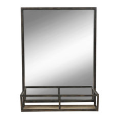 Black metal wall mirrors houzz - Spiegel industrial metal ...
