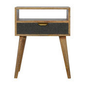 Bedside Table With 1 Grey Tweed Fabric Drawer Front