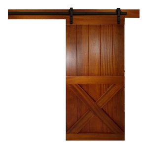 "Real Solid Hardwood Sliding Barn Door  Tropical Oak With Honey Stain, 30""x84"""