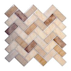 "Herringbone Peel & Stick Wall Tiles, 10x10"", Beige, 6 Pieces"