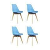 Scandi Wood X Dining Chair, Pastel Blue, Set of 4