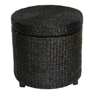 Rush Grass Coffee Table Ottoman Tropical Footstools