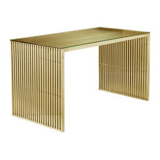 "Pangea Home - Lux 59"" Desk, Gold - Desks and Hutches"