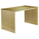 """Pangea Home - Lux 59"""" Desk, Gold - Cool modern brushed gold steel desk with tempered glass top; edgy and modern."""
