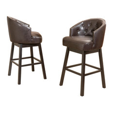 Westman Brown Leather Swivel Backed Bar Stools, Set of 2