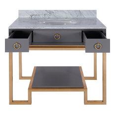 Owen Bath Vanity Base, Gray/Gold