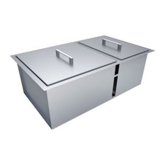 "SUNSTONE - Over/Under 34""x12"" H8 Double Basin Sink With Covers - Grill Tools & Accessories"