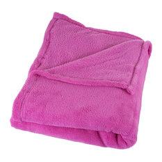 Soft Velvet Fleece Throw Blanket, Pink