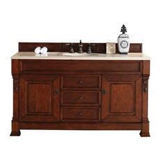 "Brookfield 60"" Warm Cherry Single Vanity, Galala Beige Top"