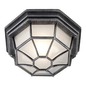 Traditional Hexagonal Black/Silver Flush Ceiling Porch Light