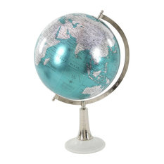Eclectic Marble and Plastic Globe, Cyan