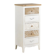 White and Natural Spruce Wood 5-Drawer Chest