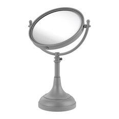 "Height Adjustable 8"" Vanity Top Make-Up Mirror 3X Magnification, Matte Gray"
