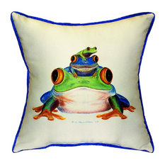 Betsy Drake Interiors   Betsy Drake Stacked Frogs Indoor Outdoor Pillow   Outdoor  Cushions And