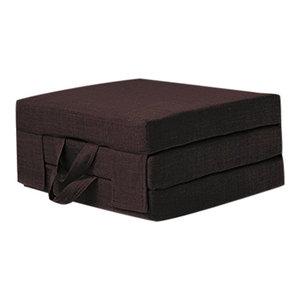 Futon Guest Mattress, Polyester, Carry Handles, Modern Design, Single, Chocolate