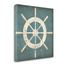 """Nautical Shipwheel Blue"" By Ryan Fowler, Giclee Print on Gallery Wrap Canvas"