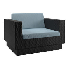 CorLiving Park Terrace Patio Chair in Textured Black Weave