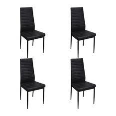vidaXL - vidaXL Set of 4 Slim Line Dining Chairs, Black - Dining Chairs