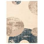 """ECARPETGALLERY - eCarpetGallery Modern Abstract Area Rug Ivory/Blue 3'11"""" x 5'7"""" - The Bellagio Collection sets the tone with bold designs in an array of colors, with something to complement any interior style. Trendy and original patterns characterize this collection, and lend it versatility and the potential to decorate your space in many ways. Made from plush material, this collection ensures underfoot softness and is perfect for a family home."""