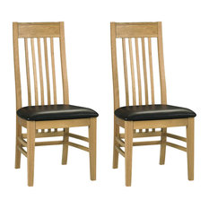 Turner Slatted Dining Chairs, Brown Faux Leather, Set of 2
