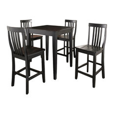 5-Piece Pub Dining Set With Tapered Leg and School House Stools, Black Finish