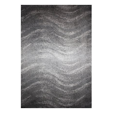 "Contemporary Ombre Waves Polypropylene Rug, Gray, 6'7""x9'"
