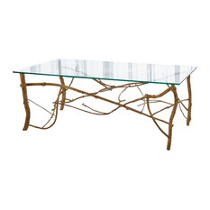 Elegant Twig Branch Brass Metal Coffee Table  Gold Natural Glass Top Organic