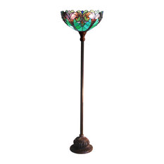 "Liaison Tiffany-Style 1-Light Victorian Torchiere Floor Lamp, 15"" Shade"