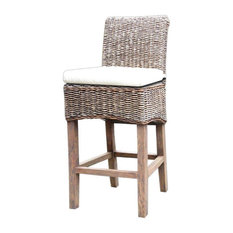 Four Hands Four Hands Banana Leaf Counterstool With Cushion Gray Wash Outdoor Bar