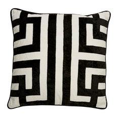 "Jaipur Living Ordella White/Black Geometric Throw Pillow 22"", Down Fill"