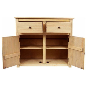 Traditional Sideboard, Natural Wax Oak Solid Wood With 2-Door and 2-Drawer