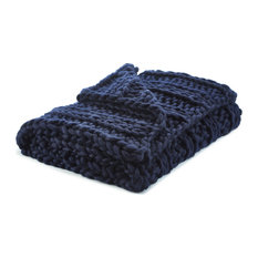 """Jamilah Channel Knit Throw, Navy, 50""""x70"""""""