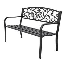 "vidaXL Garden Bench 50"" Cast Iron Black Outdoor Romantic Porch Park Chair"